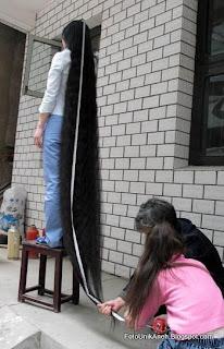 Mengukur Panjang Rambut Dengan  Meteran Bangunan