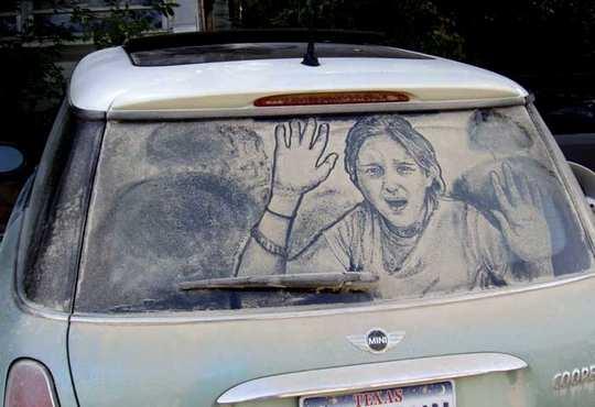 Hasil Lukisan Di Kaca Mobil Kotor
