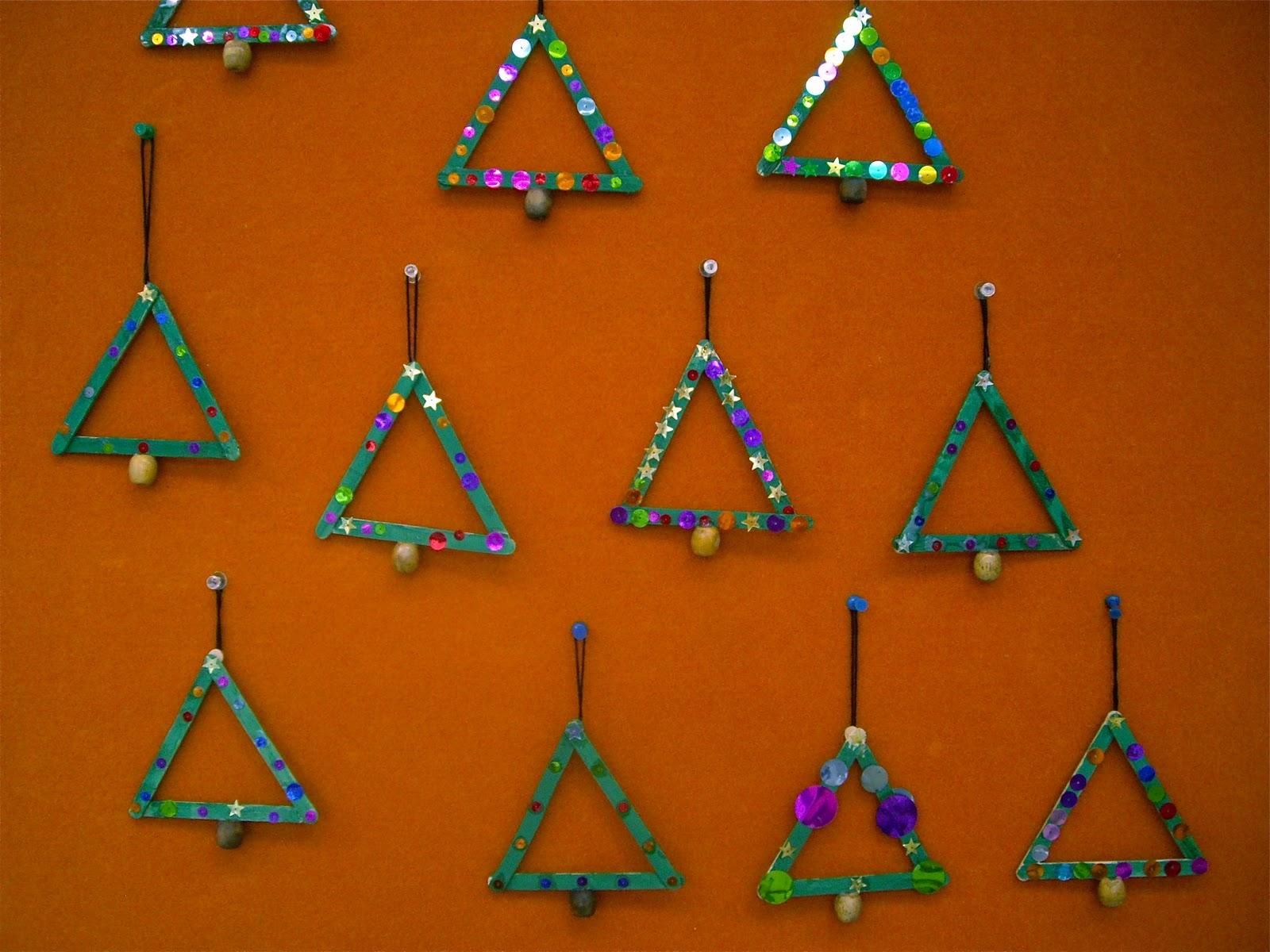 use your coloured pencils popstick christmas trees
