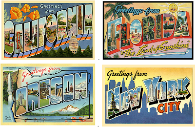 Save the Date postcards – vintage city and state designs