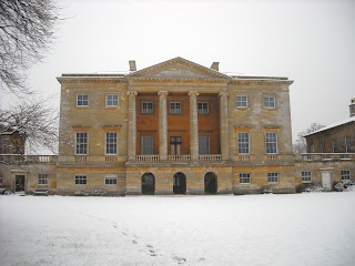 West front of Basildon Park, snow scene. Stone discoloured by weather and crumbling in places