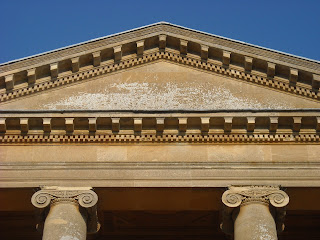 Pediment at front of Basildon Park, discoloured by weather over a period of time