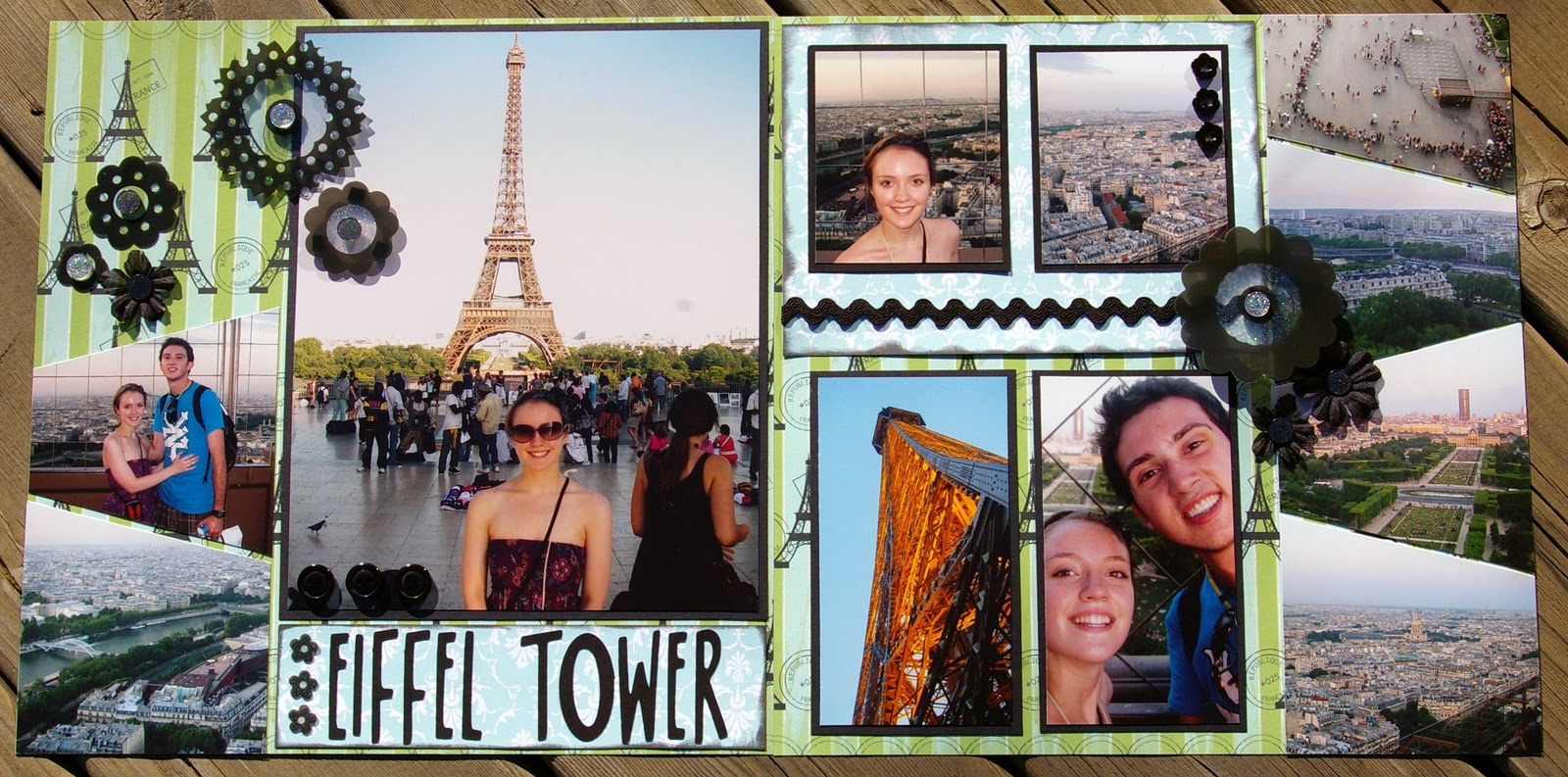 Europe scrapbook ideas - This Layout Is Of The Eiffel Tower This Was The One Location Chelsea Was Really Looking Forward To See She Took Some Great Pics That Made This Layout