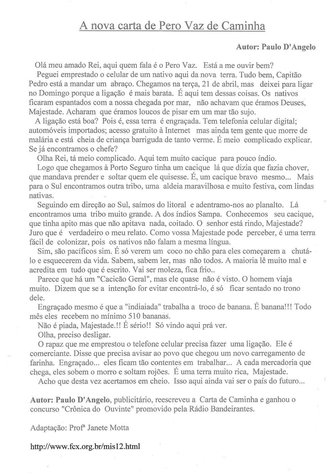 """turmadaprofejanete: """"A NOVA CARTA DE PERO VAZ DE CAMINHA"""""""