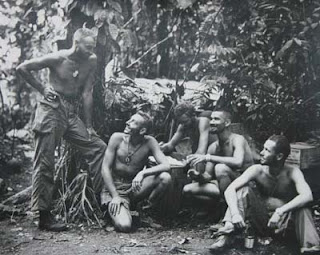 Schiraldi interviewed Tom Fields, second from left, who saw combat in the Pacific. He was an All-American runner at the University of Maryland before joining the Marines