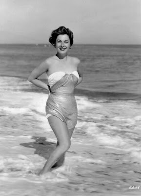 Ruth Roman in the surf.