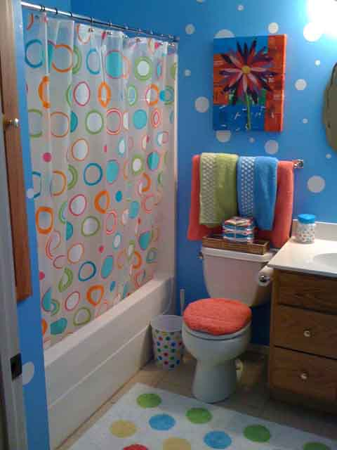 polka dot bathroom ideas for teens
