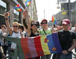 Above: Gay rights activists attend a protest in Moscow May 27, 2007.