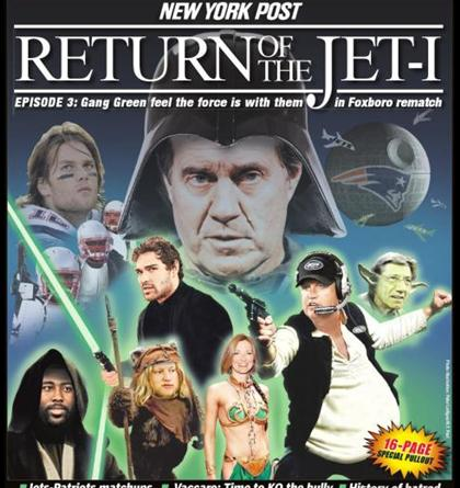star wars jets pats. awesome Star Wars themed cover for the Jets vs Patriots playoff game.