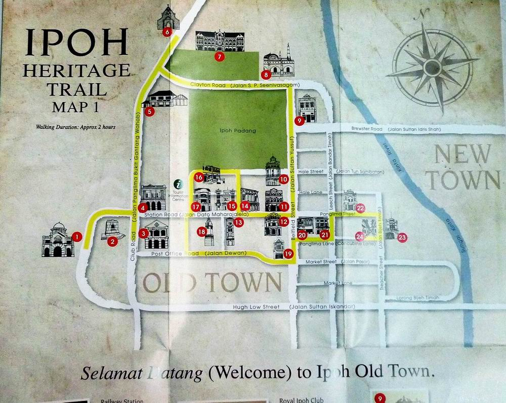 the free map outlines the heritage trail around old town starting from the railway station to the kinta river and borders between st michaels institution
