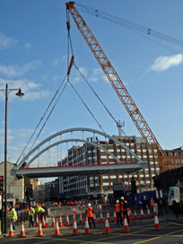 the bridge swings into place