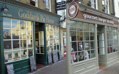 Goddards pie shop November 2006, Gourmet Burger Kitchen May 2007