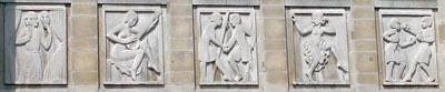 Eric Gill carvings on the front of the People's Palace