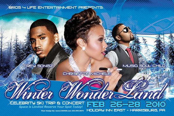 Winter Wonderland Black Celebrity Ski Trip and Concert Flyer Design