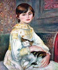 Julia Manet con un gato