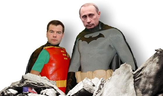 Robin Medwedew und Batman Putin