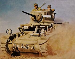 color tank in desert