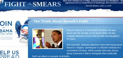 [ Fightthesmears.com: Obama is not a Muslim ]