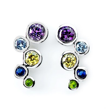 Mix color gem setting Earing