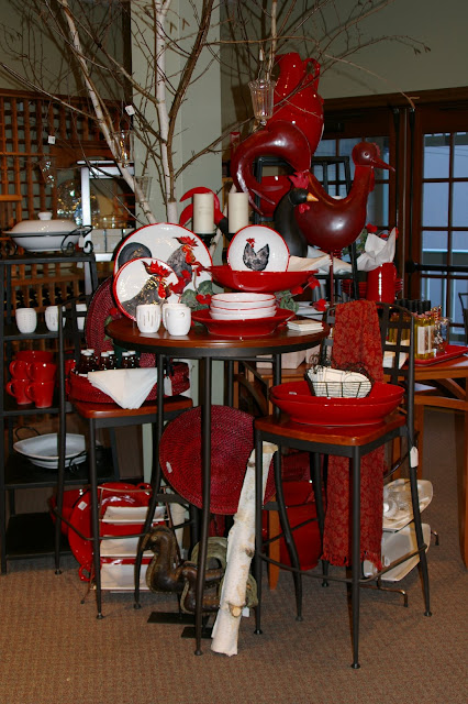 Red Vietri pottery retail display Columbia Winery
