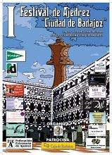 Cartel del I Festival de Ajedrez Ciudad de Badajoz