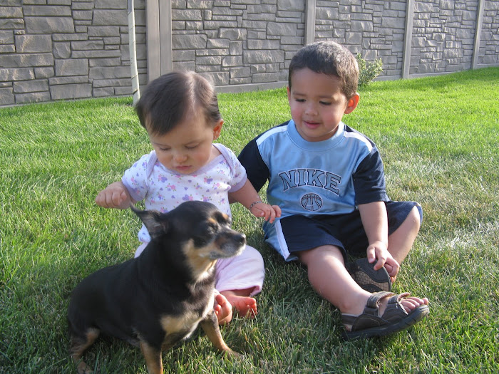 Mya,Jarom and Chika in the back yard enjoing summer day