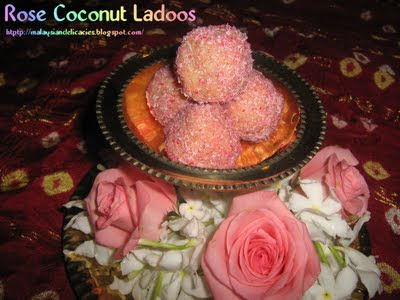 Rose coconut ladoo