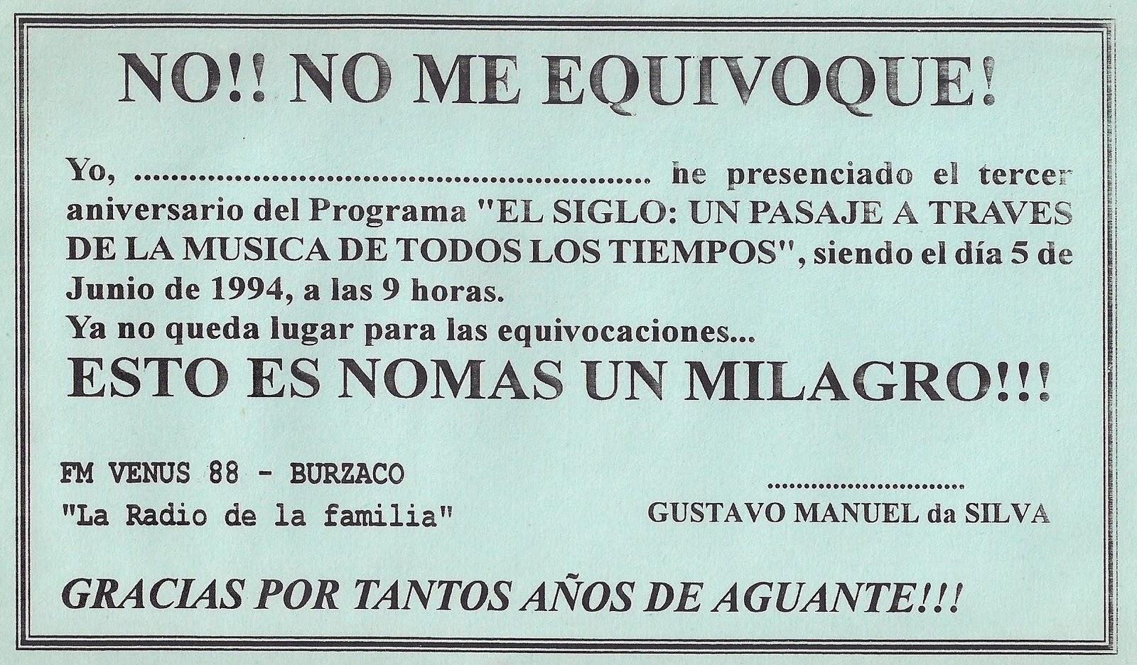 1991-EL SIGLO: 20° ANIVERSARIO-2011: DIPLOMA QUE LE FUE ENTREGADO A ...