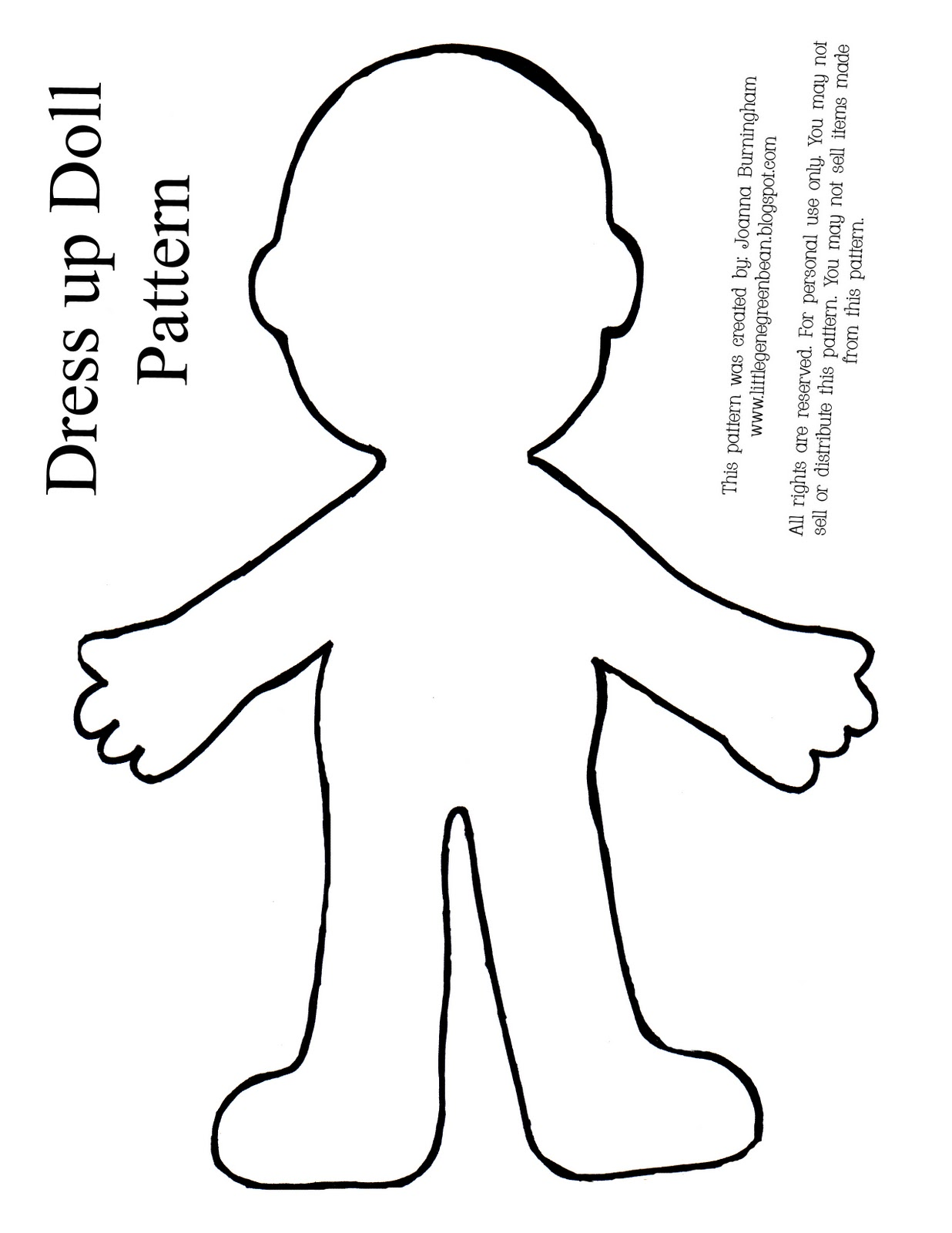 Little gene green bean four quick easy and cheap preschool activities for Large paper doll template