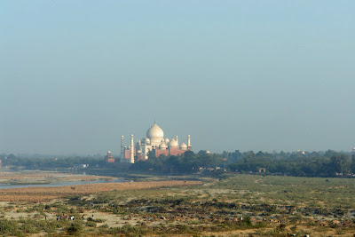 A zoomed image of the Taj Mahal as visible from the Agra Fort