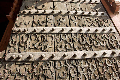 Close up of the wooden gate of Fatehpur Sikri