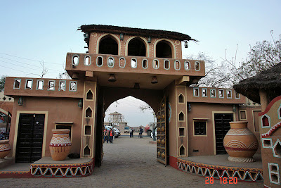 Chokhi Dhaani in Jaipur - View of the outside from the interior