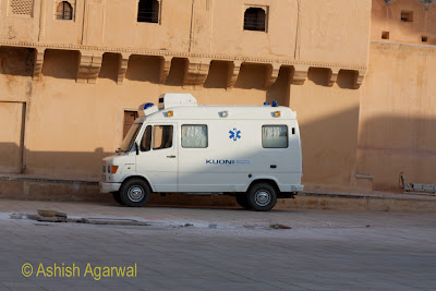 An ambulance inside the Amber Fort in Jaipur