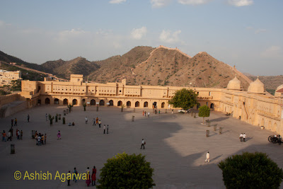 View of the huge courtyard inside the Amber Fort in Jaipur