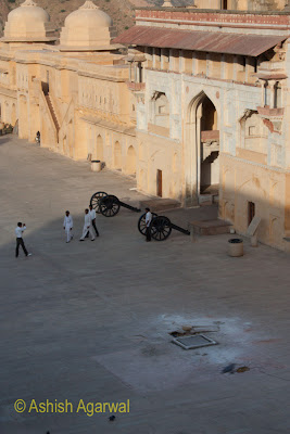 View of canons outside a doorway inside the Amber Fort in Jaipur