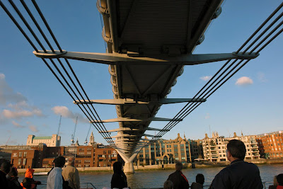 Passing under one of the Bridges across the Thames in London