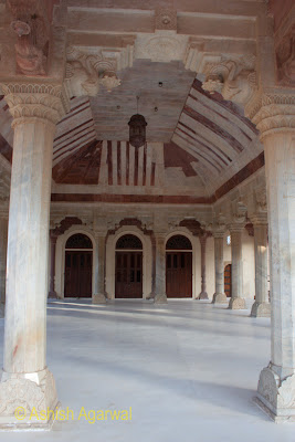 The hall between the pillars inside the Diwan-i-Aam the Amer Fort in Jaipur
