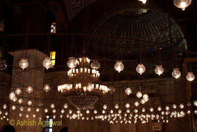 Saladin Citadel in Cairo - the 365 lamps hanging from the ceiling in the Mohammed Ali Mosque