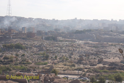 Basma Hotel in Aswan - view of neighboring burial ground (1 Km away)