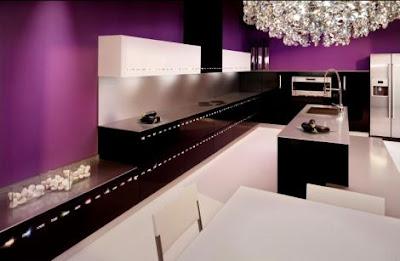 Colores y decoraci n vanguardista for Black and purple kitchen ideas