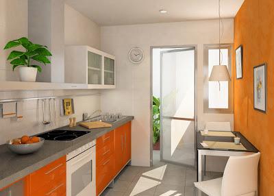 Paredes de la cocina en naranja - Cocinas naranjas y blancas ...