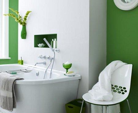 C mo decorar con dos colores for Banos blancos y verdes