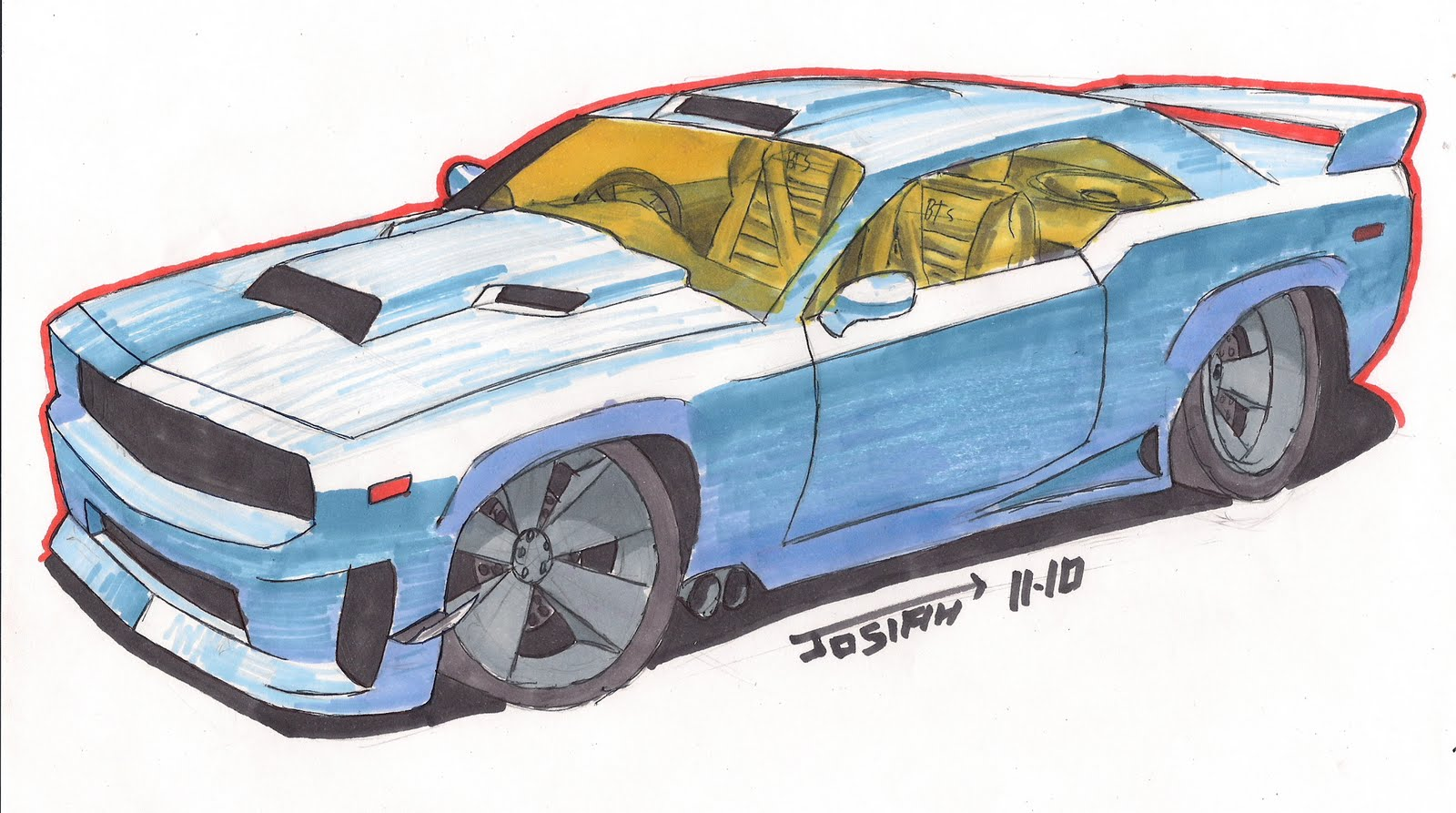 Josiah S Drawings How To Draw A Muscle Car