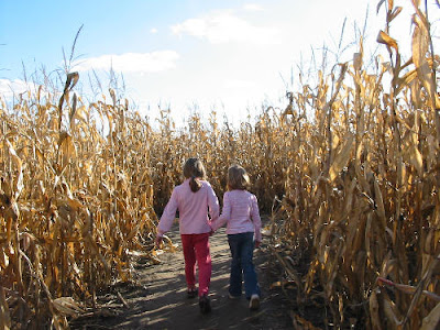 Rose and friend in corn maze