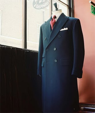 Double-Breasted Navy Herringbone Overcoat