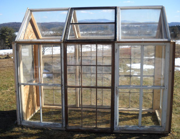 Wandering moose farms greenhouse from reclaimed materials for Reclaimed window greenhouse