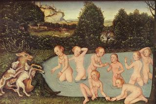Diana und Aktäon Lucas Cranach the Elder painting women naked art pintura mulheres nuas