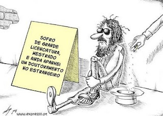 desemprego licenciados mestrados mendigos cartoon