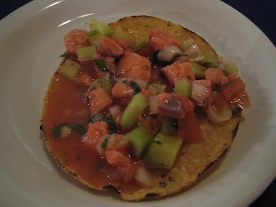 Mariscos Playa Hermosa - complimentary salmon ceviche