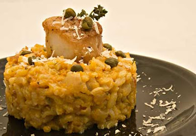 Scallops and Capers with Butternut Squash Risotto